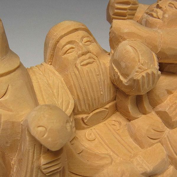 桧/檜(ヒノキ) 七福神船 高13横23cm (販売・木彫り)