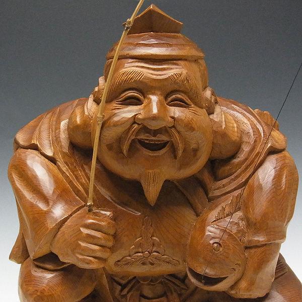 木曽桧/檜(きそひのき) 恵比寿・大黒天セット 高さ:35cm 【国内仏師(日本仏師)作品】 (販売・木彫り)