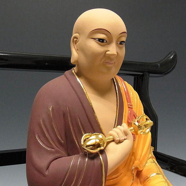 楠/樟(クス) 彩色 弘法大師・空海 高さ:42cm (販売・木彫り)