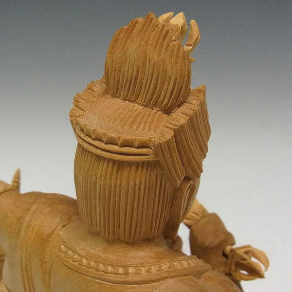 柘植/黄楊(ツゲ) 愛染明王 高さ:30cm (販売・木彫り)