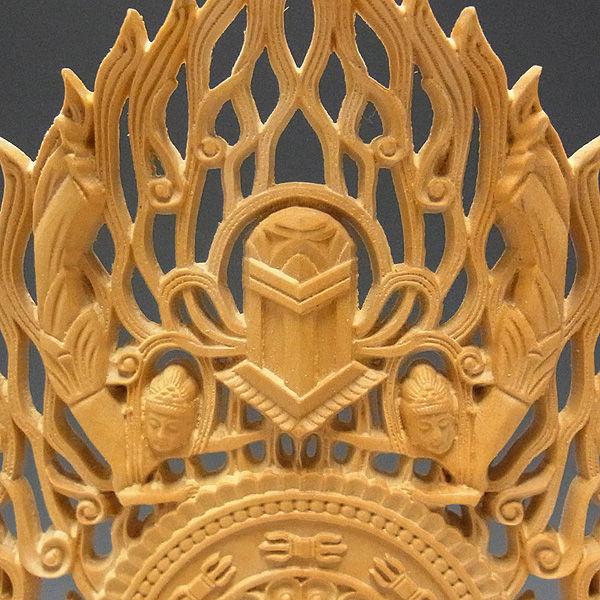 柘植/黄楊(ツゲ) 大日如来 (飛天光背) 真言宗 お仏壇向け本尊 高さ:26cm (販売・木彫り)
