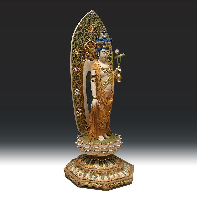 楠/樟(クス) 彩色 十一面観音菩薩 立像 高さ:84cm (販売・木彫り)