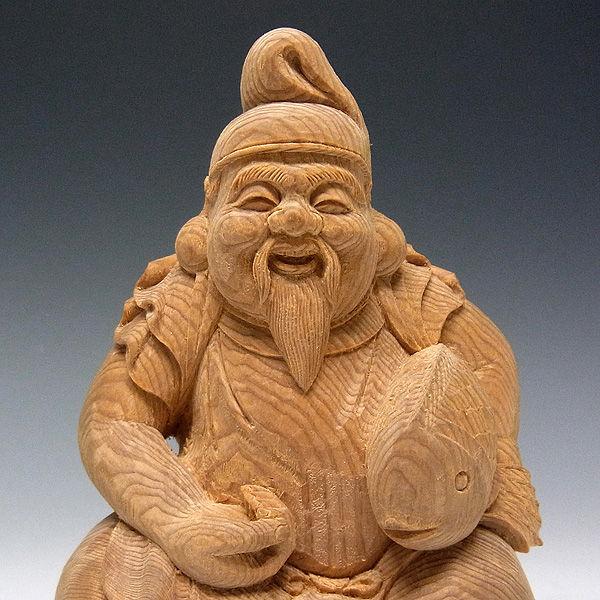 楠/樟(クス) 恵比寿大黒 高さ:16cm (販売・木彫り)