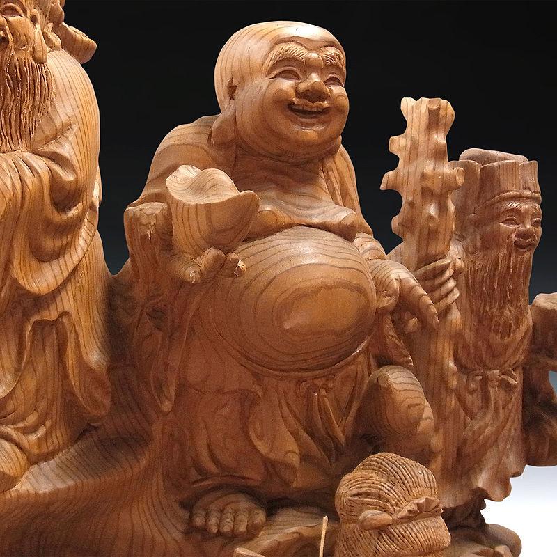 柳杉(ヤナギスギ) 龍七福神 高さ:137cm (販売・木彫り)