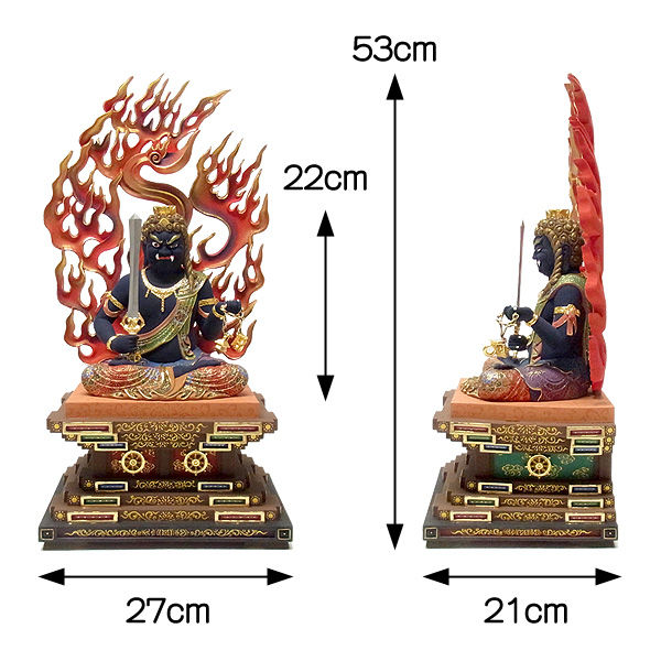 楠/樟(クス) 極彩色 不動明王 坐像 高さ53cm (販売・木彫り)