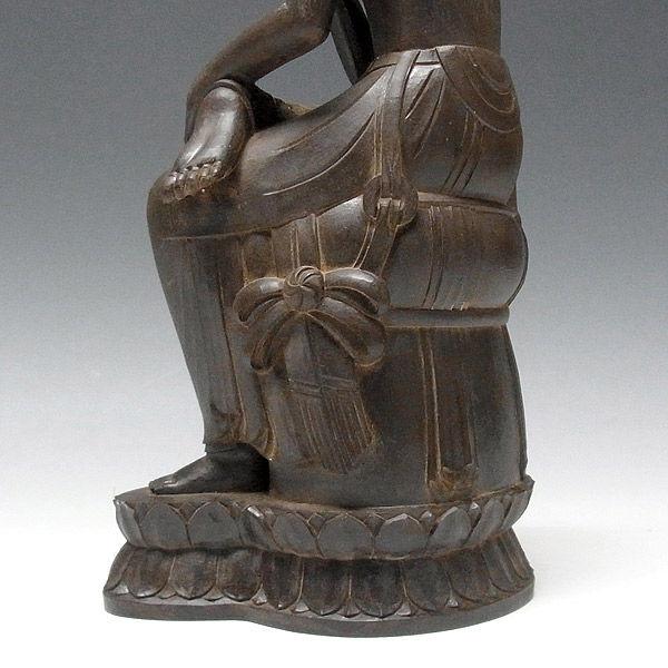 柘植/黄楊(ツゲ) 古色仕上げ 弥勒菩薩 高さ30cm (販売・木彫り)