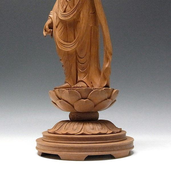 本体:白檀(ビャクダン) 台座:桜 十一面観音 高さ42cm 【国内仏師作品】 (販売・木彫り)
