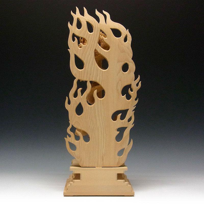 桧/檜(ヒノキ)  倶利伽羅不動(龍剣・竜剣) 高さ:53cm (販売・木彫り)
