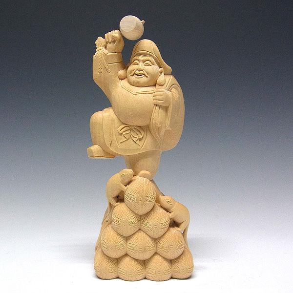 桧/檜(ヒノキ) 大黒天 ねずみ付 高さ:24cm (販売・木彫り)
