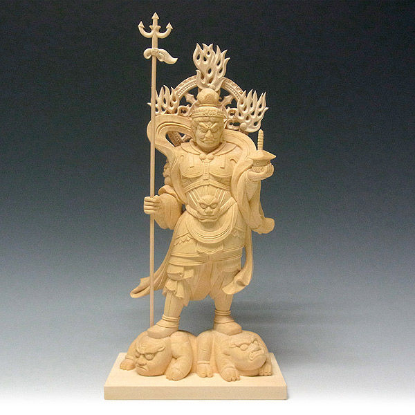 桧/檜(ヒノキ) 毘沙門天 高さ30cm (販売・木彫り)