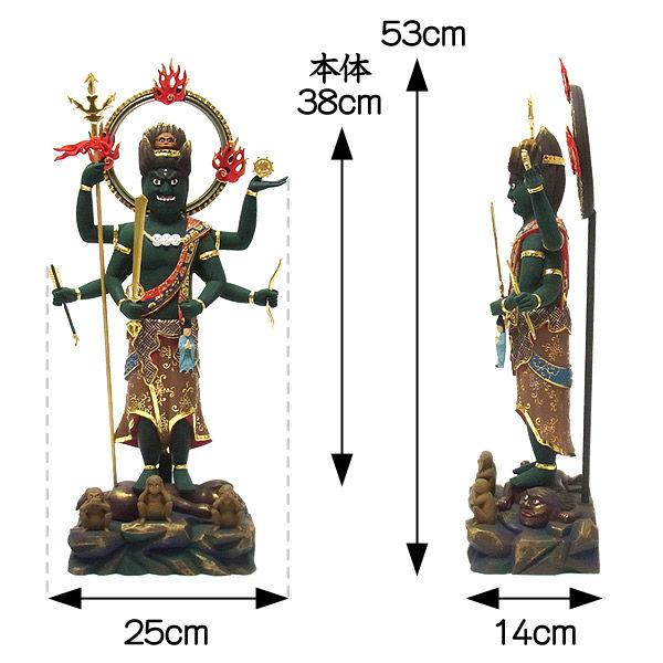 楠/樟(クス) 彩色 青面金剛 高さ53cm (販売・木彫り)