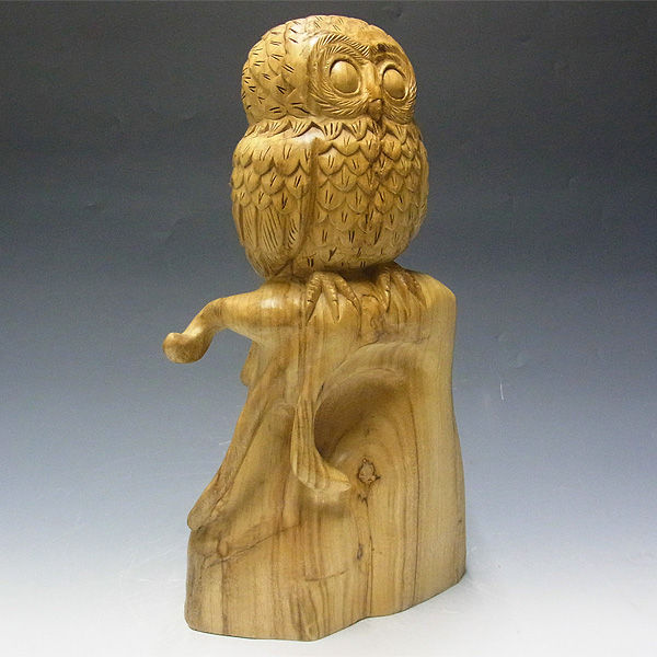 【超特別プライス】楠/樟(クス) 木彫りふくろう 高さ:43cm (アウトレット・訳あり)