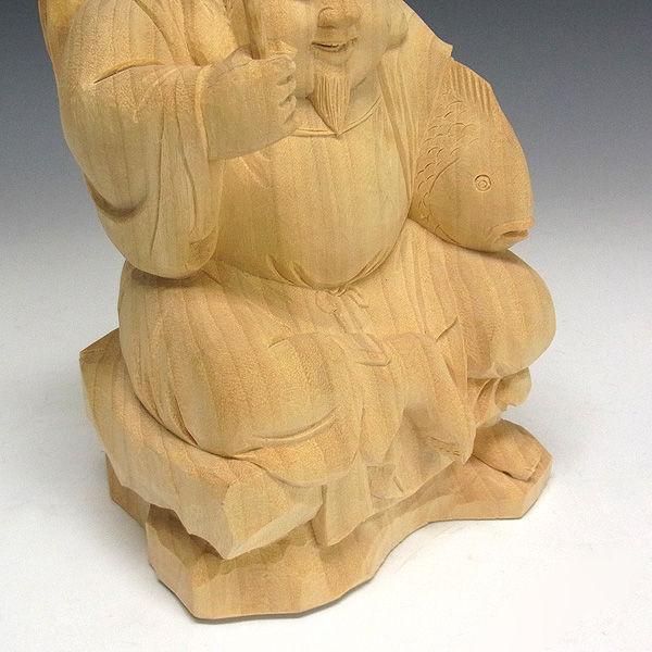 楠/樟(クス) 白木 恵比寿 高さ:25cm (販売・木彫り)