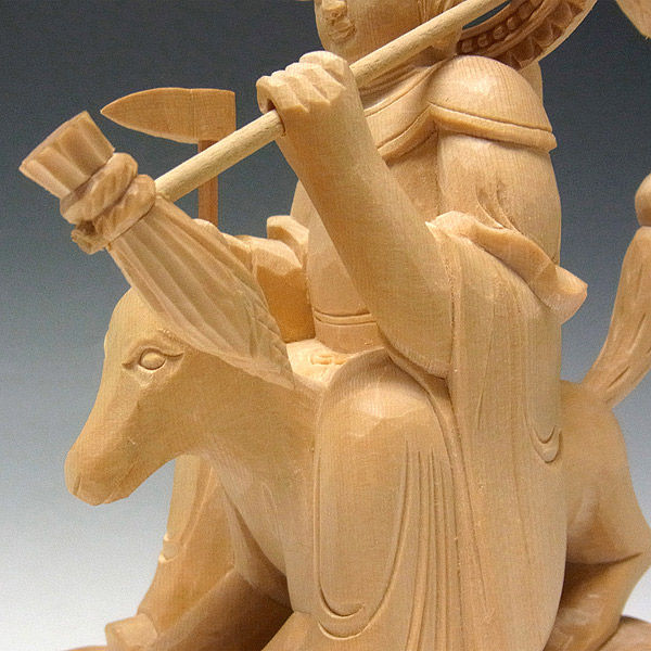 桧/檜(ヒノキ) 荼吉尼天(稲荷大明神) 高さ20cm (販売・木彫り)