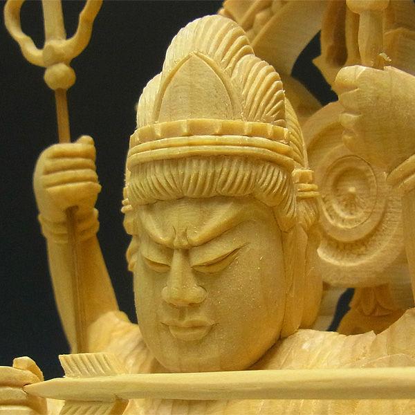 桧/檜(ヒノキ) 摩利支天 高さ:37cm (販売・木彫り)