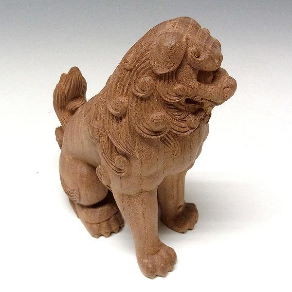 国産 欅(ケヤキ) 木彫りの狛犬(獅子狛犬) 高さ16cm (販売・木彫り)