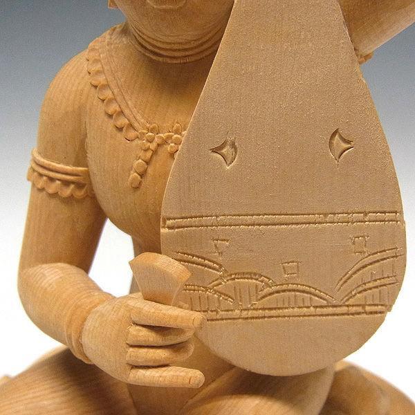 桧/檜(ヒノキ) 弁財天 高さ:20cm (販売・木彫り)