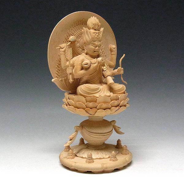 桧/檜(ヒノキ) 愛染明王 高さ23cm (販売・木彫り)