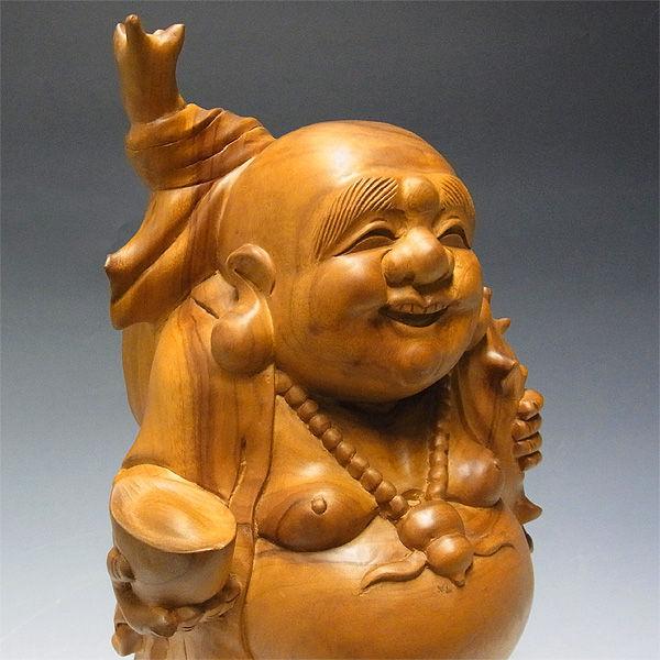 【特別プライス】楠/樟(クス) どっしりとした木彫りの布袋さん 高さ:44cm