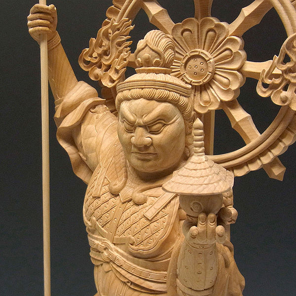 榧(カヤ) 白木 毘沙門天 高さ:63cm (販売・木彫り)
