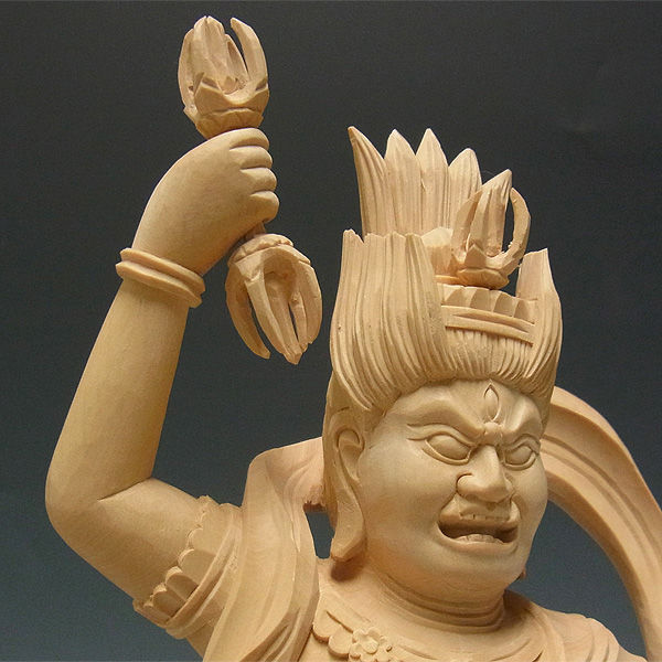 柘植/黄楊(ツゲ) 蔵王権現 高さ:31cm (販売・木彫り)