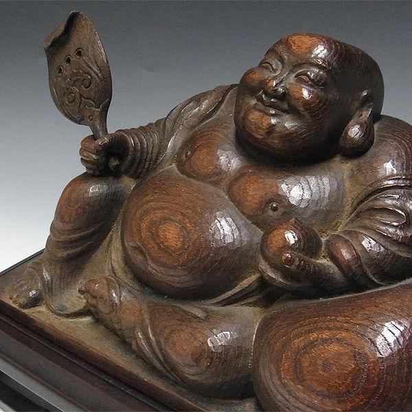 欅(ケヤキ) 布袋 漆 古色仕上げ 高さ:21cm 【国内(日本人)仏師作品】 (木彫り・販売)