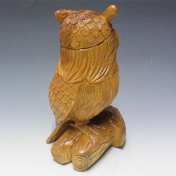 【特別プライス】楠/樟(クス) 木彫りのふくろう 高さ:31cm