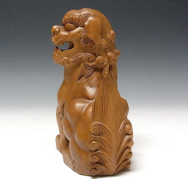 楠/樟(クス) 木彫りの狛犬 (獅子狛犬) 高さ:19cm (販売・木彫り)