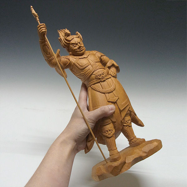 木曽桧/檜(きそひのき) 十二神将 未神 安に羅大将 あにら 37(持物含むと41)cm 【国内仏師(日本仏師)作品】 (販売・木彫り)