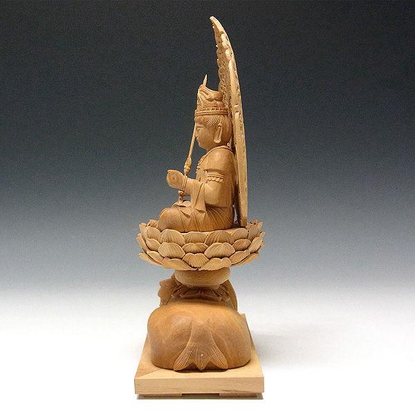 柘植/黄楊(ツゲ)  文殊菩薩・獅子坐 高さ:26cm (販売・木彫り)