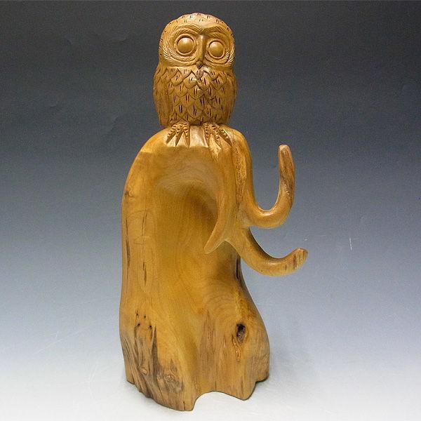 【超特別プライス】楠/樟(クス) 木彫りふくろう 高さ:40cm