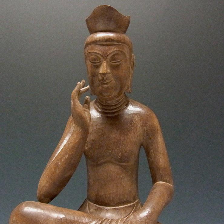 楠/樟(クス) 古色 弥勒菩薩 高さ51cm (販売・木彫り)