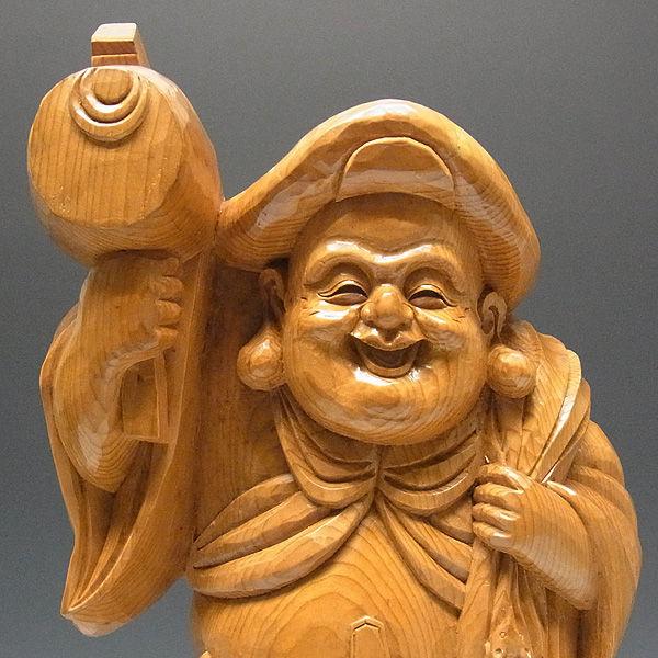木曽桧/檜(きそひのき) 大黒天 ねずみ付 高さ:63cm 【国内仏師(日本仏師)作品】 (販売・木彫り)