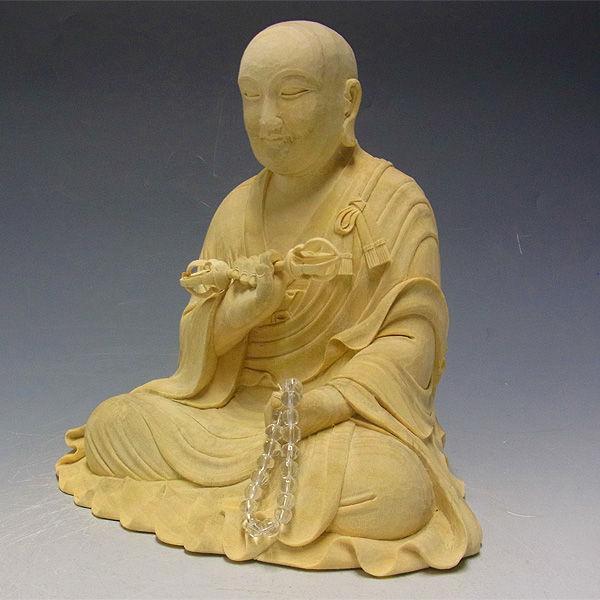楠/樟(クス)白木 弘法大師・空海 高さ:32cm