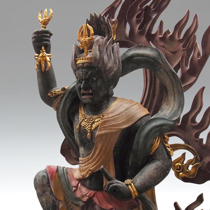 楠/樟(クス) 古色 蔵王権現 高さ:100cm (販売・木彫り)