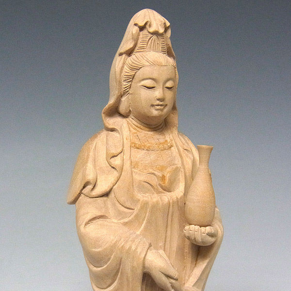 水柘植/水黄楊(ミズツゲ) 観音菩薩 高さ17cm (販売・木彫り)
