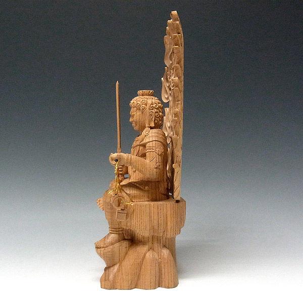 欅(ケヤキ) 半跏不動明王 (坐像) 高さ33cm (販売・木彫り)