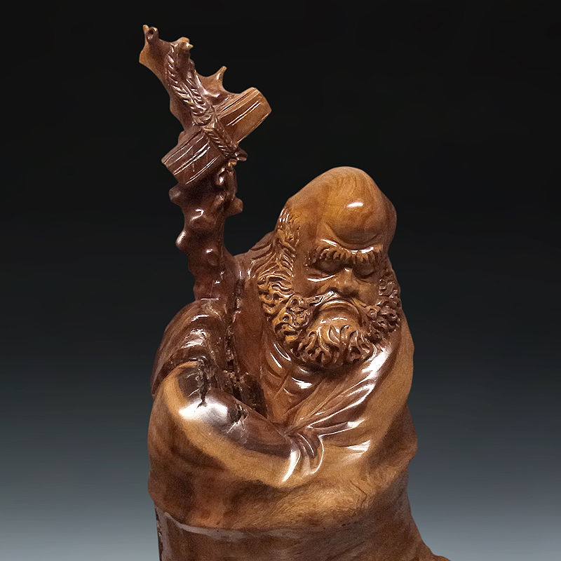 楠/樟(クス) 木彫りの達磨大師 高さ:80cm (販売・木彫り)