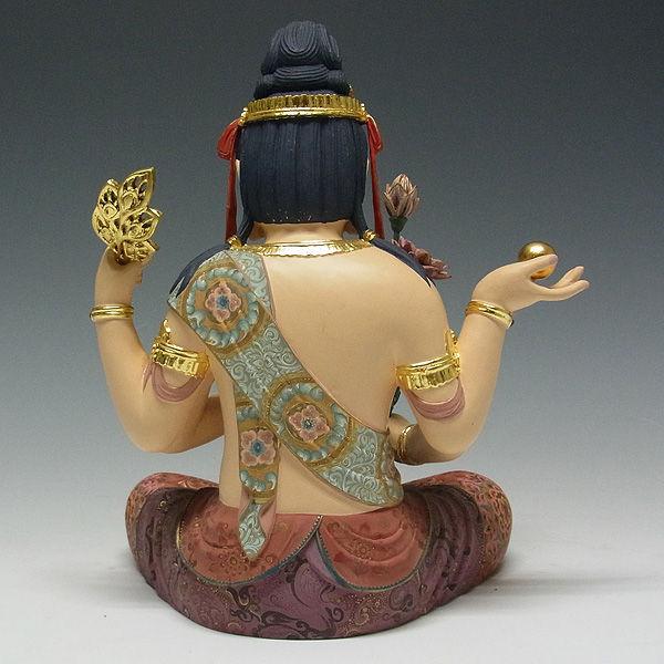 楠/樟(クス) 彩色 孔雀明王 高さ:77cm (販売・木彫り)