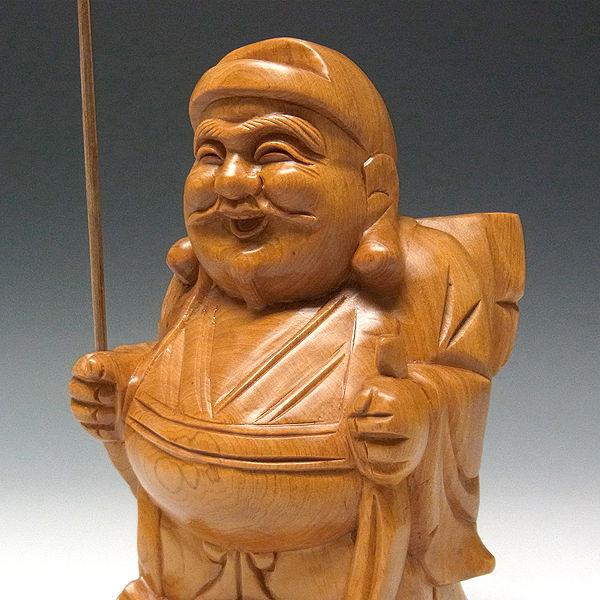 桧/檜(ヒノキ)  恵比寿大黒 置物 高さ:24cm (販売・木彫り)