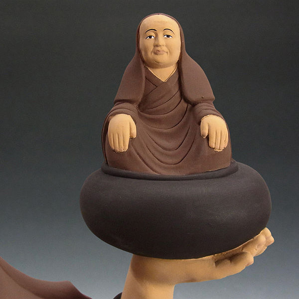 楠/樟(クス) 彩色 役行者小角・母付き 高さ:68cm(錫杖を含むと80cm) (販売・木彫り)