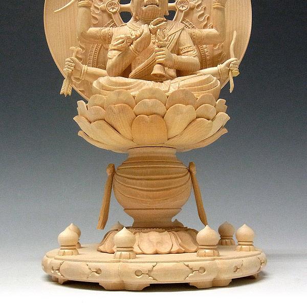 桧/檜(ヒノキ) 愛染明王 高さ28cm (販売・木彫り)