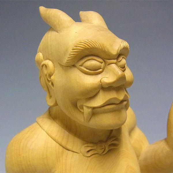 【特別プライス】柘植/黄楊(ツゲ) 役行者 小角(えん の おづの /おづぬ /おつの) 前鬼・後鬼(ぜんき・ごき) 高さ:29cm
