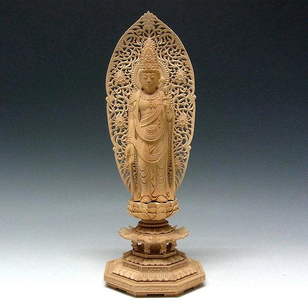 柘植/黄楊(ツゲ) 聖観音菩薩 高さ33cm (販売・木彫り)