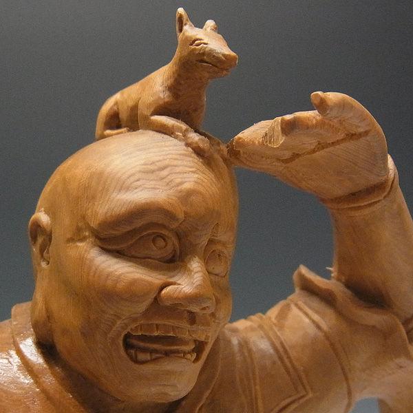 木曽桧/檜(きそひのき) 十二神将 戌神 伐折羅大将(金剛力士) ばさら 37.5cm 【国内仏師(日本仏師)作品】 (販売・木彫り)