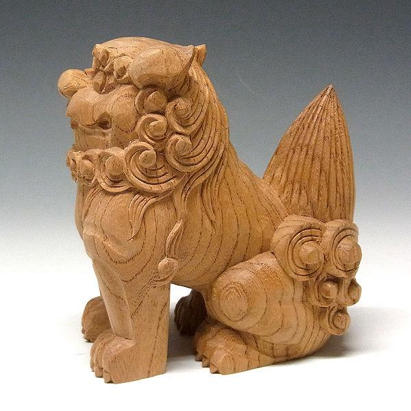 国産 欅(ケヤキ) 木彫りの狛犬(獅子狛犬) 高さ:11cm (販売・木彫り)