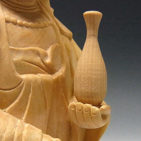 柘植/黄楊(ツゲ) 観音菩薩 高さ:17cm (販売・木彫り)