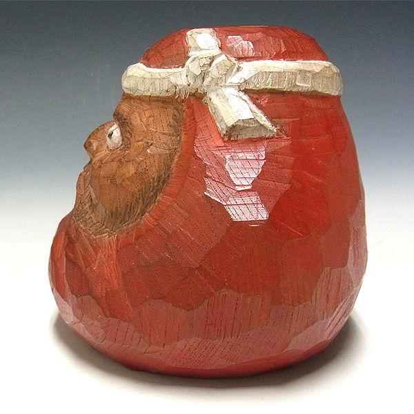欅(ケヤキ) だるま(達磨) 彩色 叩き彫り 高さ:11cm 【国内(日本人)仏師作品】 (木彫り・販売)