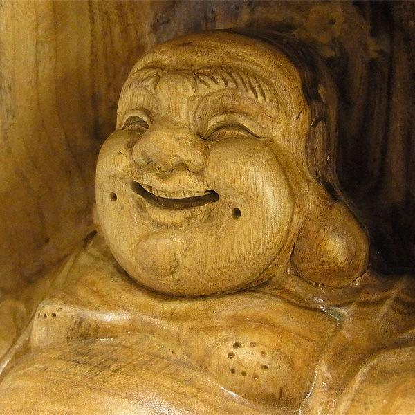 【特別プライス】楠/樟(クス) ひょうたん布袋 高さ:28cm