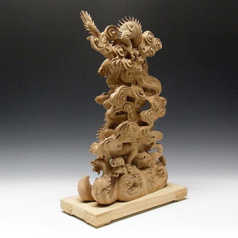 楠/樟(クス) 白木 最上彫り双龍 高さ:53cm (販売・木彫り)